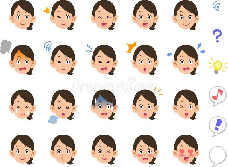 Tjugo typer av en kvinna som band deras ansikts- anställd OL för hår vektor illustrationer