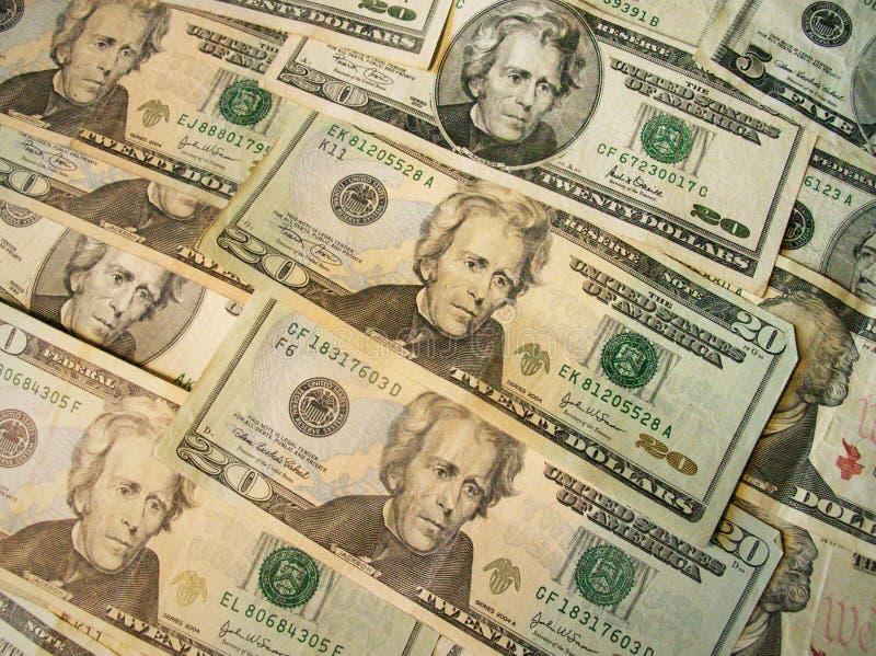 Tjugo US-dollarbills royaltyfria bilder
