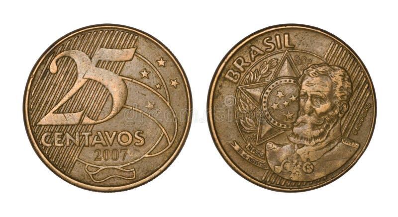 Tjugofem brasilianska verkliga cent myntar, beklär och drar tillbaka framsidor royaltyfri fotografi