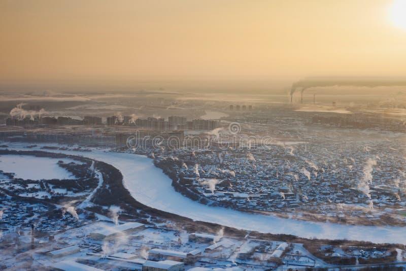Tjumen'nell'inverno, vista superiore fotografie stock libere da diritti