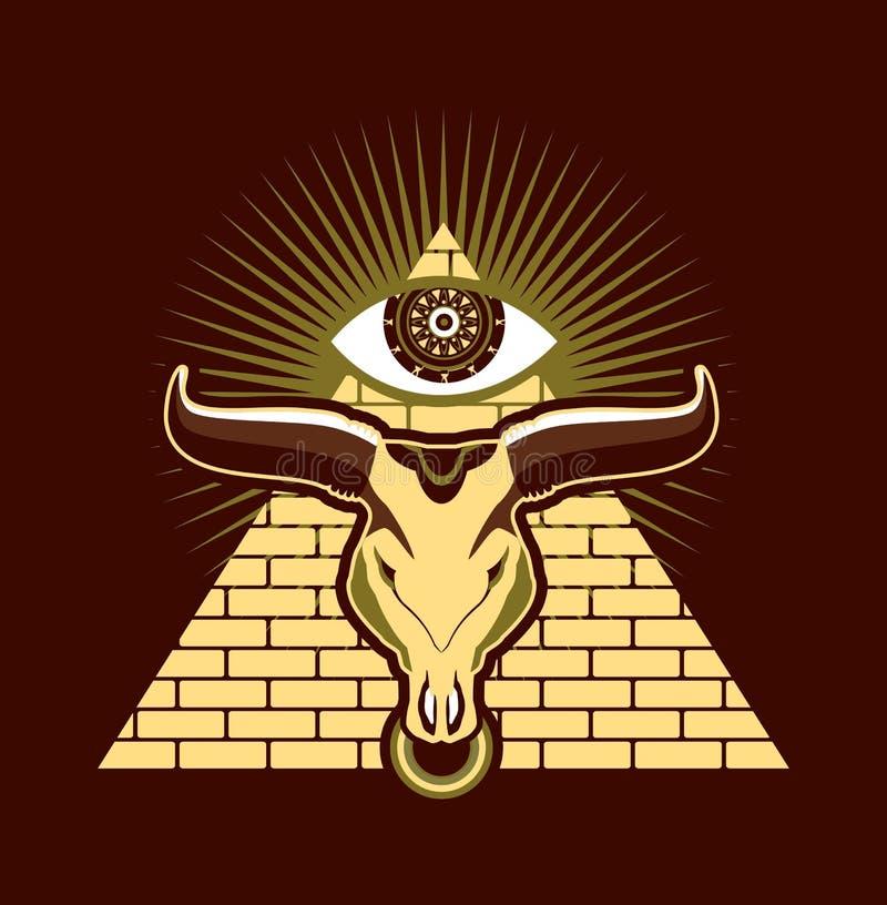 Tjur i egyptisk mytologi stock illustrationer