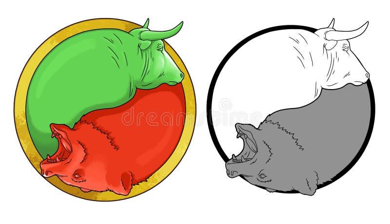 Tjur och björn stock illustrationer