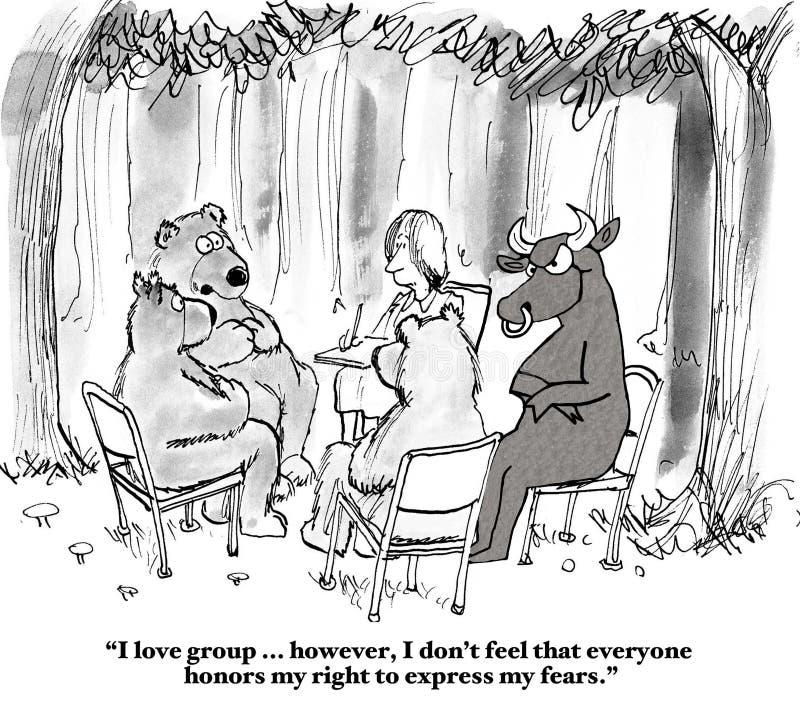 Tjur- och björnaktiemarknad stock illustrationer