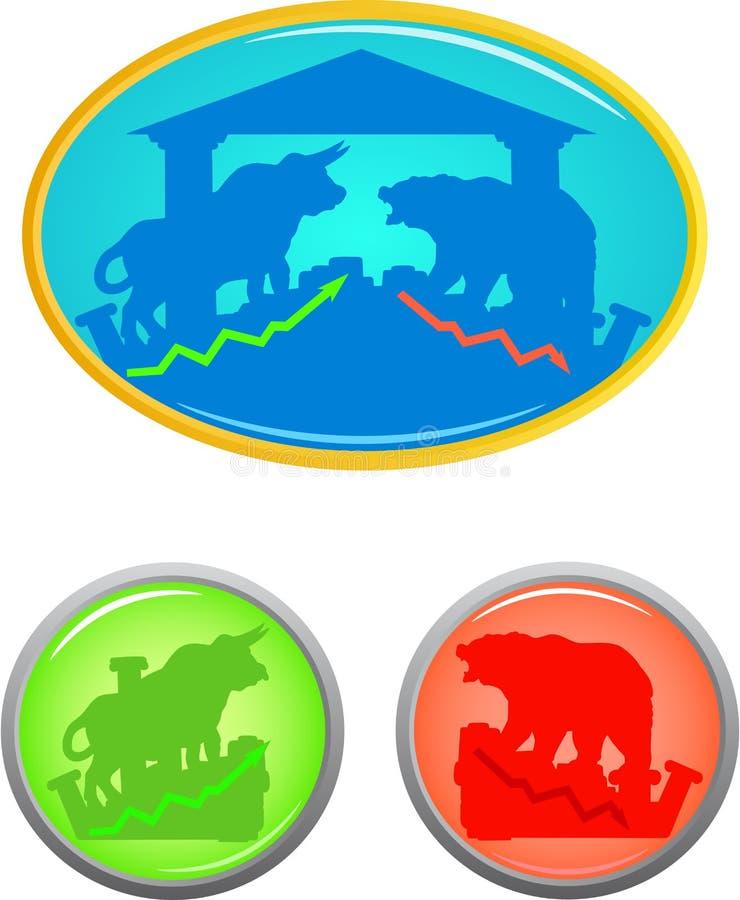 Tjur- och björnsymbolsuppsättning vektor illustrationer