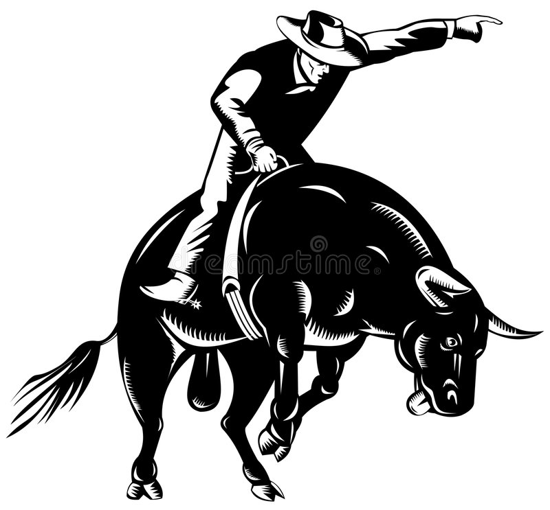 tjurcowboyridning royaltyfri illustrationer