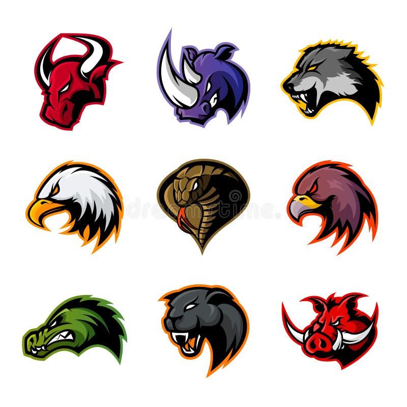 Tjuren noshörningen, vargen, örnen, kobran, alligatorn, pantern, galthuvud isolerade vektorlogobegrepp royaltyfri illustrationer