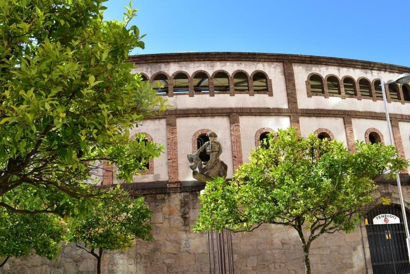 Tjurfäktningsarena med träd och statyn galicia pontevedra spain fotografering för bildbyråer