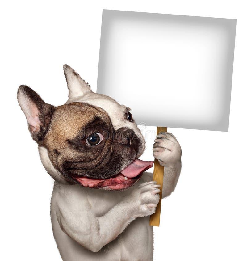 Tjurhund som rymmer ett tecken stock illustrationer