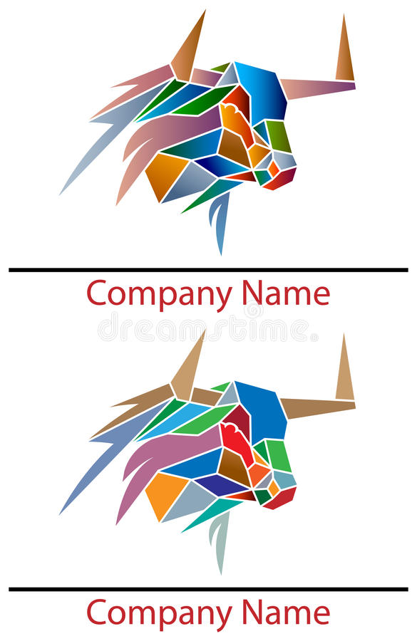 Tjurlogo stock illustrationer