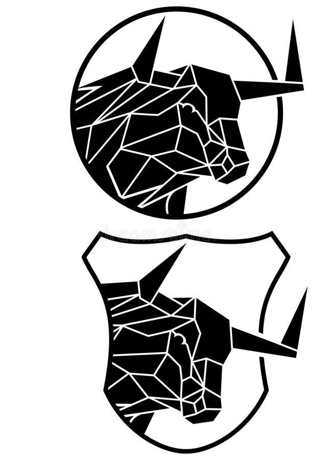 Tjurlogo stock illustrationer