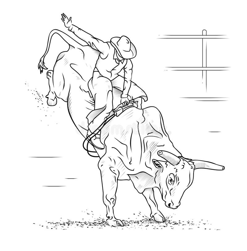 Tjurridning vektor illustrationer