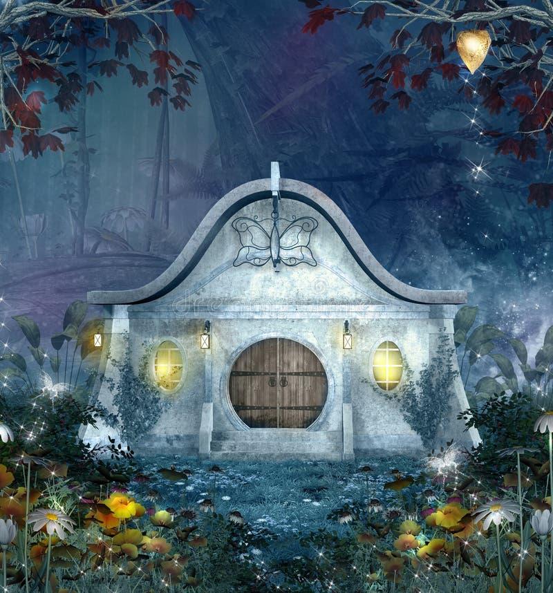 Tjusat älvahus vid natt i en magisk skog stock illustrationer