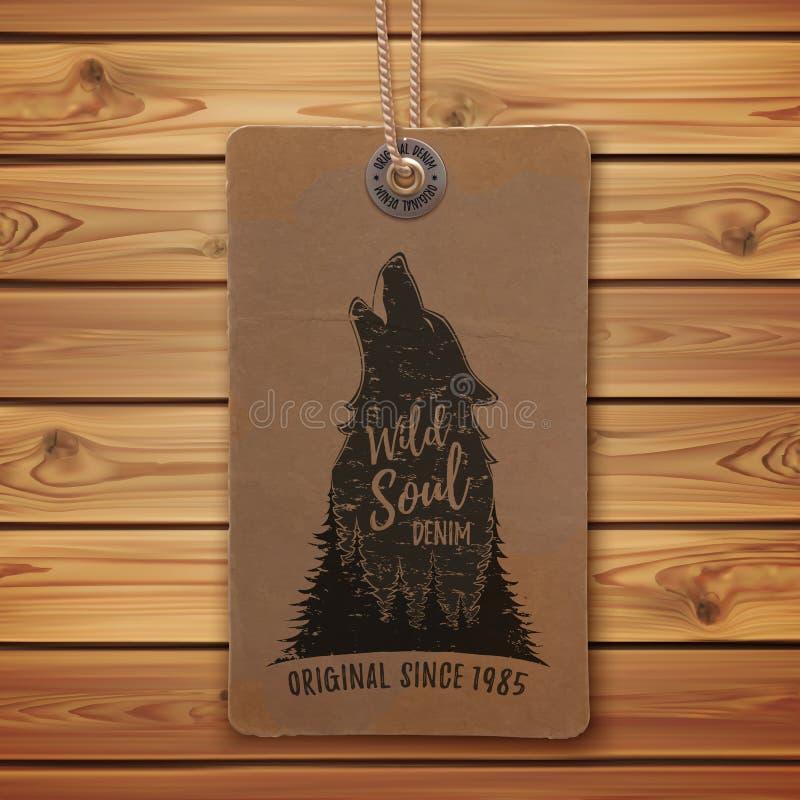 Tjuta vargen i skoglogomallen royaltyfri illustrationer