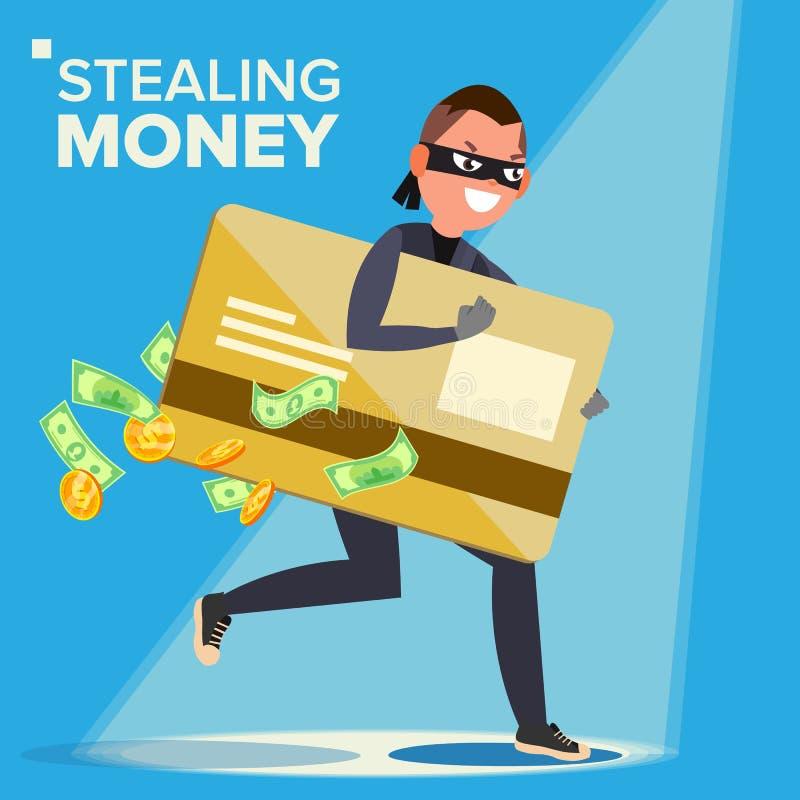 Tjuv Character Vector En hacker som stjäler känsliga data, pengar från kreditkort Dataintrång PIN Code Avbrott som anfaller royaltyfri illustrationer