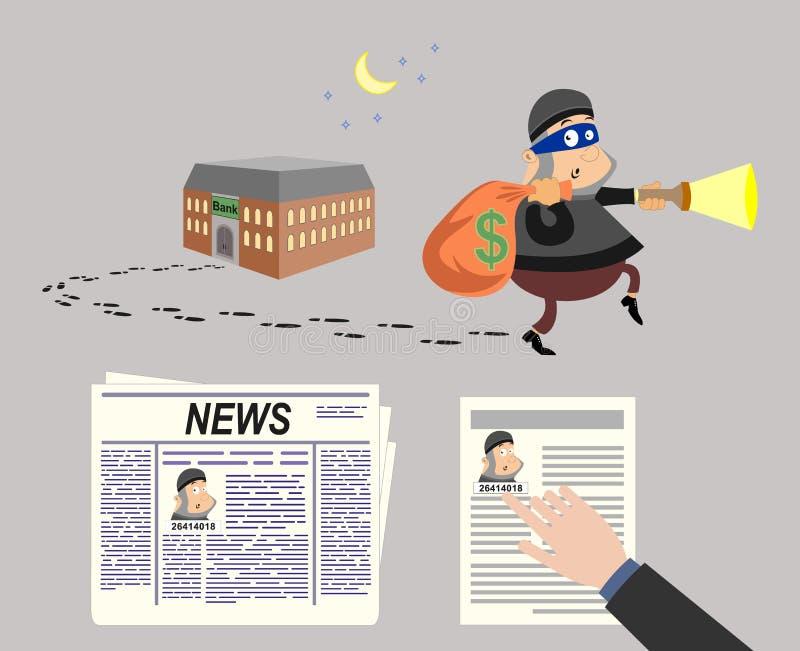 tjuv En bankrån tidning nyheterna nödläge Meddelandet av människojakten för en farlig brottsling stock illustrationer