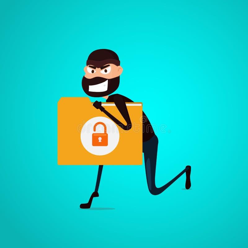 tjuv En hacker som stjäler förtroliga data, dokumenterar mappen från datoren som är användbar för anti-att phishing, och internet vektor illustrationer