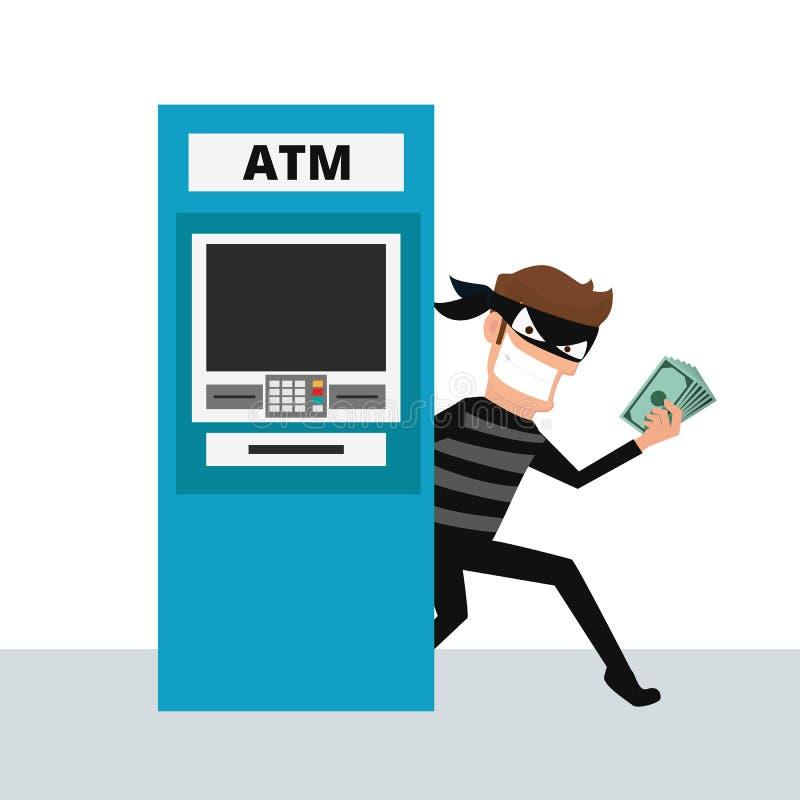 tjuv En hacker som stjäler pengar från ATM-maskinen royaltyfri illustrationer