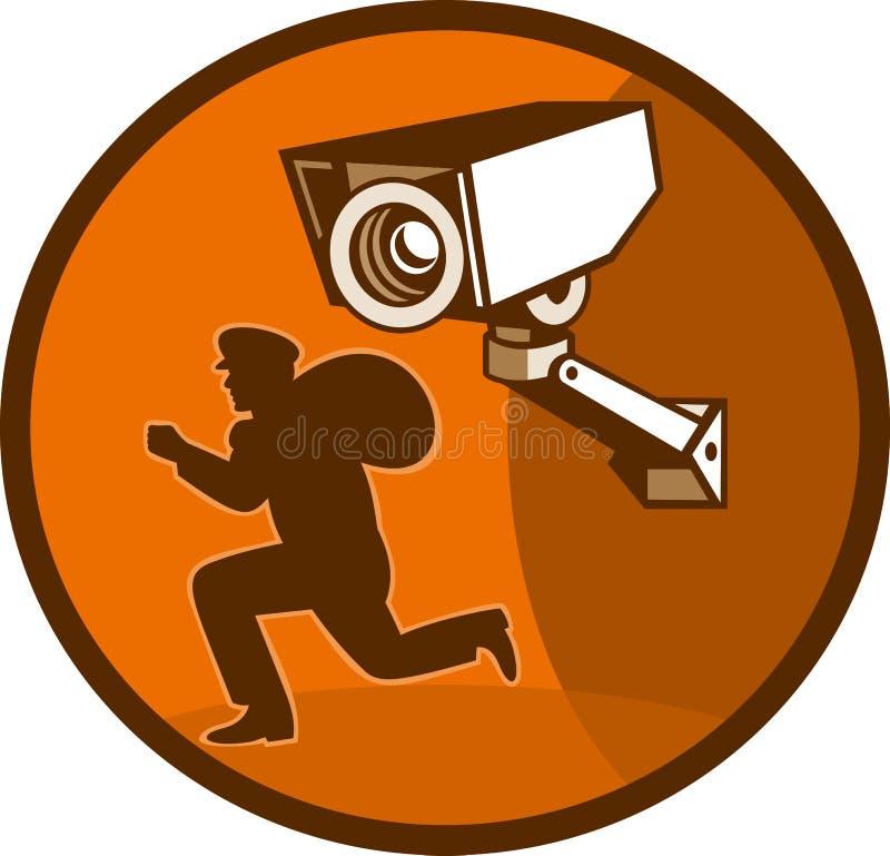tjuv för inbrottstjuvkamerabevakning stock illustrationer