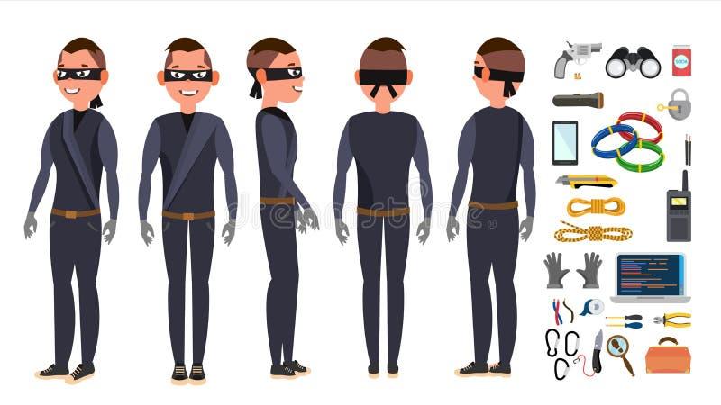Tjuv fastställd vektor för en hacker Stjäla information om kreditkort, personliga data, pengar Fiska attack Spricka PIN Code stock illustrationer