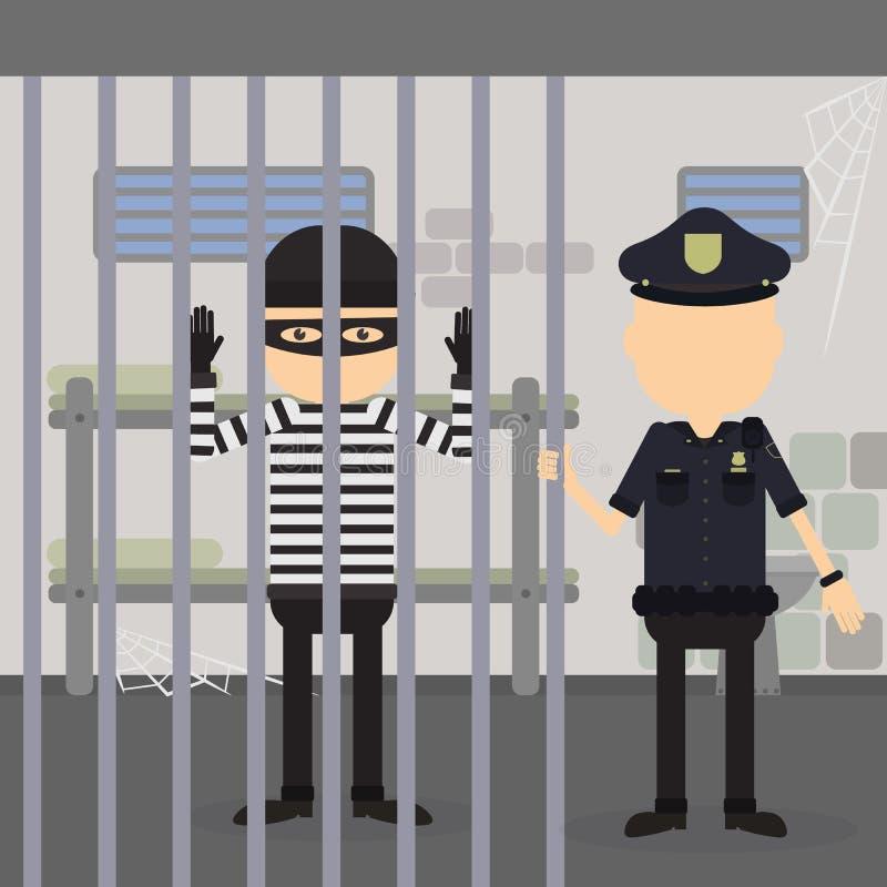 Tjuv i arrest royaltyfri illustrationer