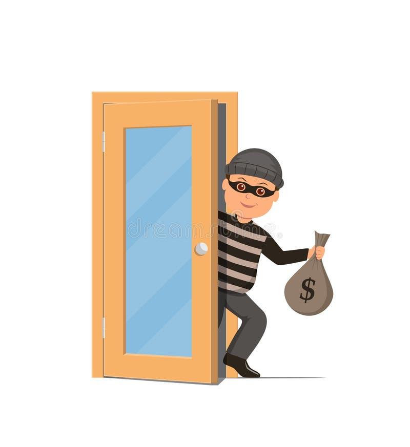 Tjuv i en maskering som rymmer en pengarpåse och skvallerbyttor till och med dörren Tecknad filminbrottstjuv i plan stil royaltyfri illustrationer