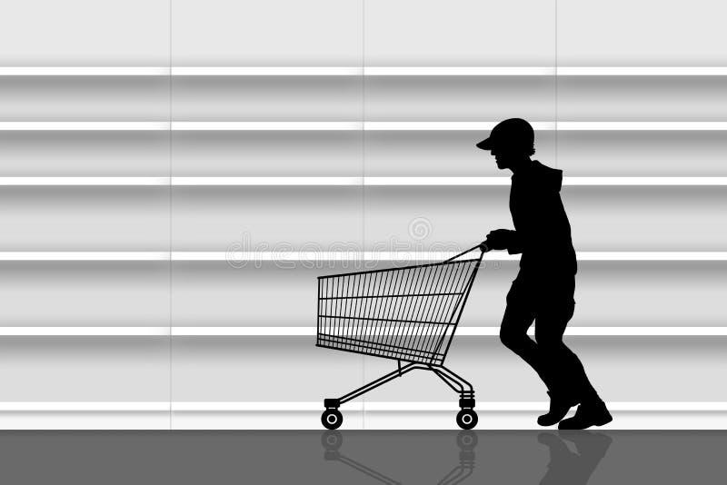 Tjuv i en supermarket royaltyfri illustrationer