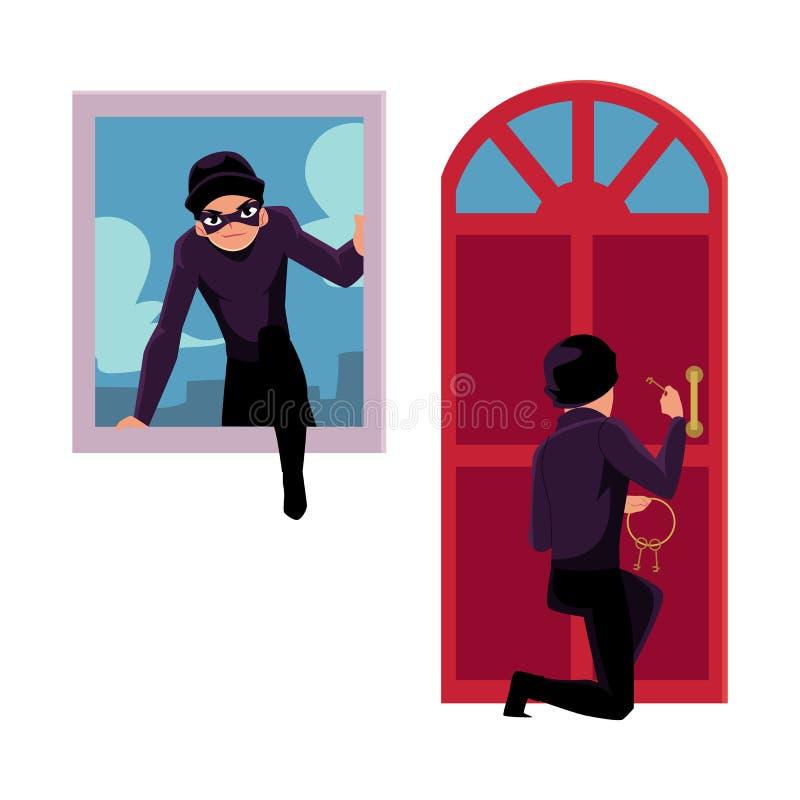 Tjuv, inbrottstjuv som bryter i hus till och med ytterdörr, och fönster stock illustrationer