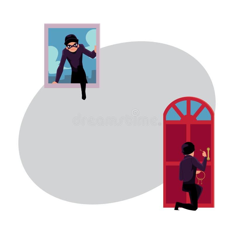 Tjuv, inbrottstjuv som bryter i hus till och med ytterdörr, och fönster royaltyfri illustrationer