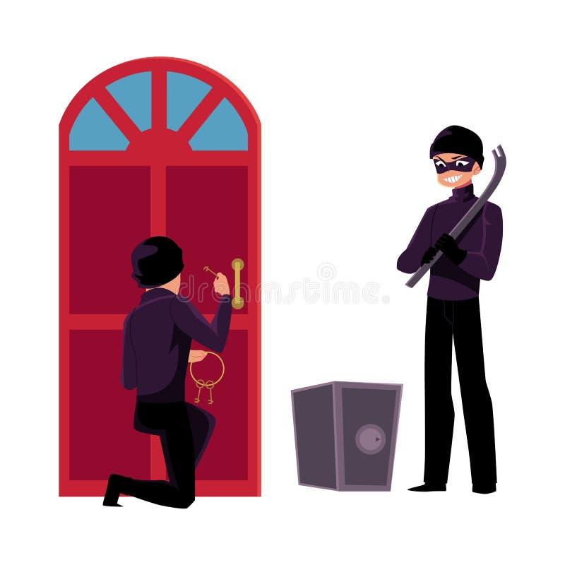 Tjuv inbrottstjuv som bryter i huset som går att tvinga det öppna kassaskåpet stock illustrationer