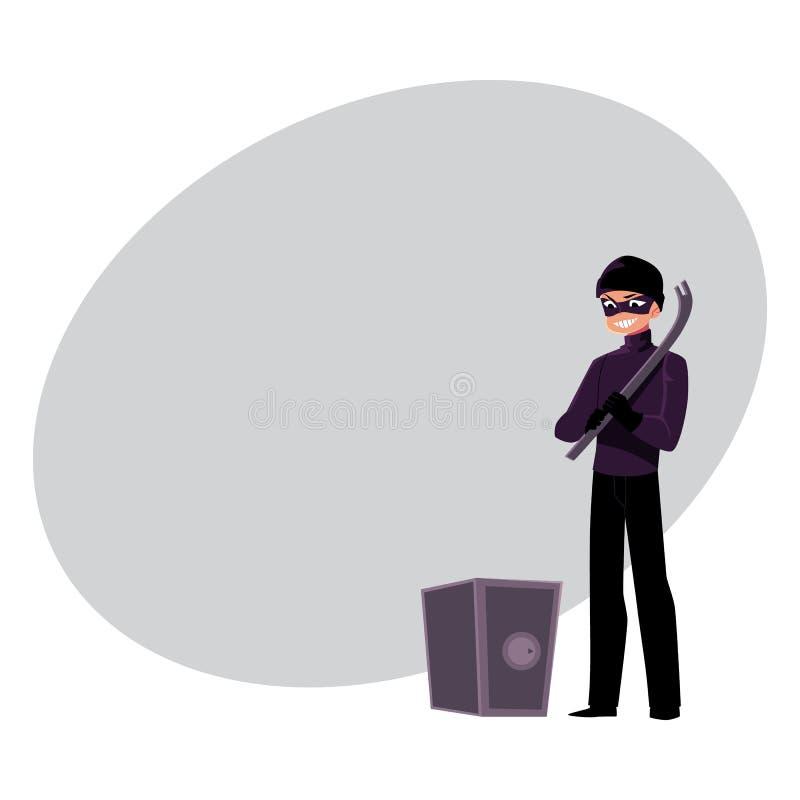 Tjuv inbrottstjuv som går att tvinga det öppna kassaskåpet med gummihjulspaken royaltyfri illustrationer