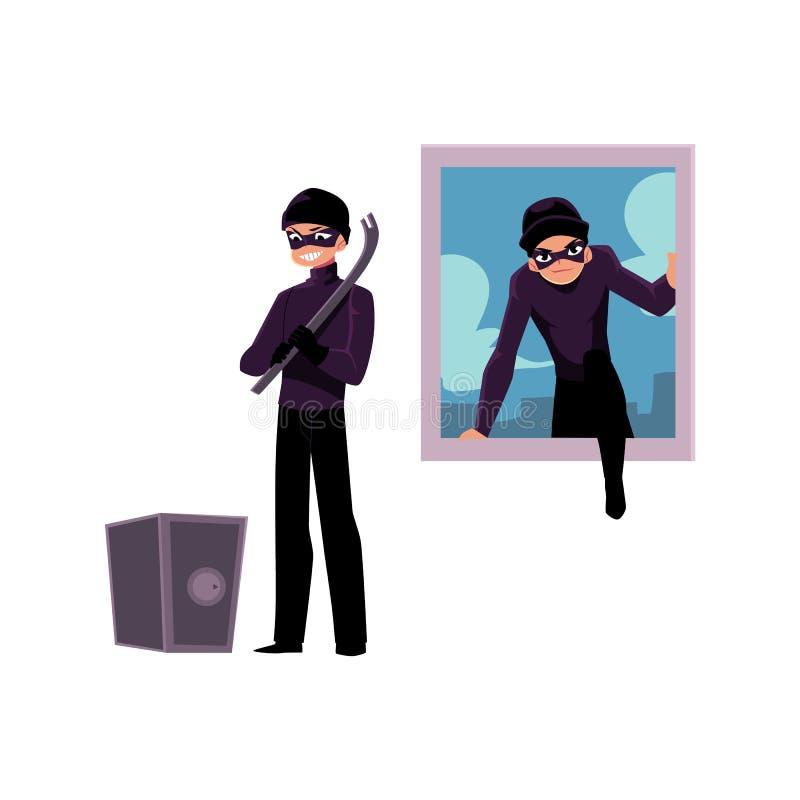 Tjuv inbrottstjuvklättring in i husfönstret som går att öppna kassaskåpet stock illustrationer
