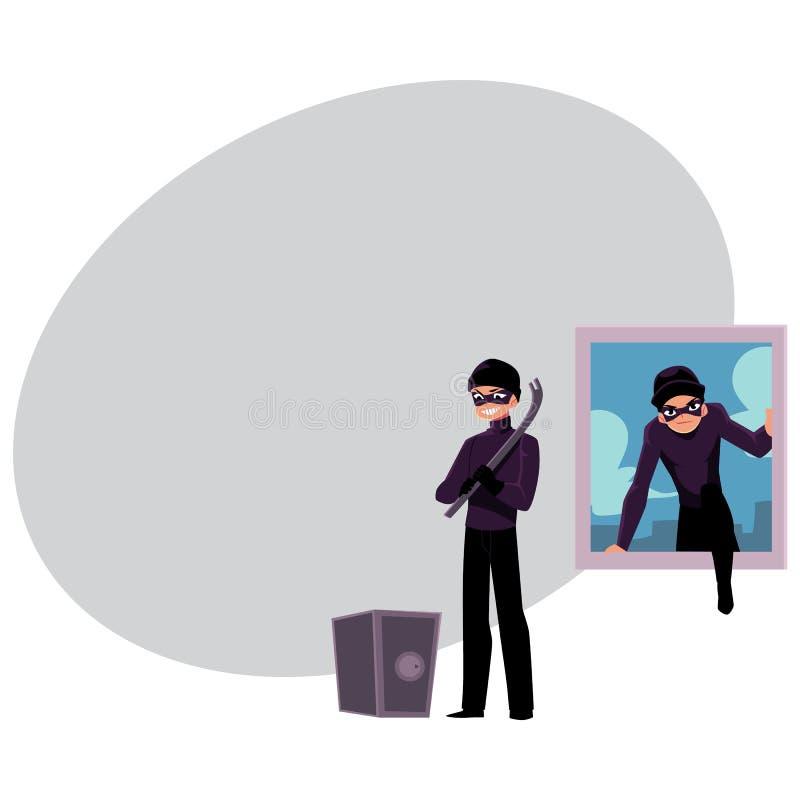 Tjuv inbrottstjuvklättring in i husfönstret som går att öppna kassaskåpet royaltyfri illustrationer