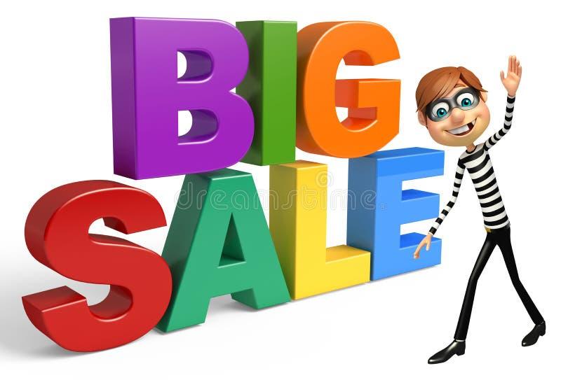 Tjuv med det stora försäljningstecknet stock illustrationer
