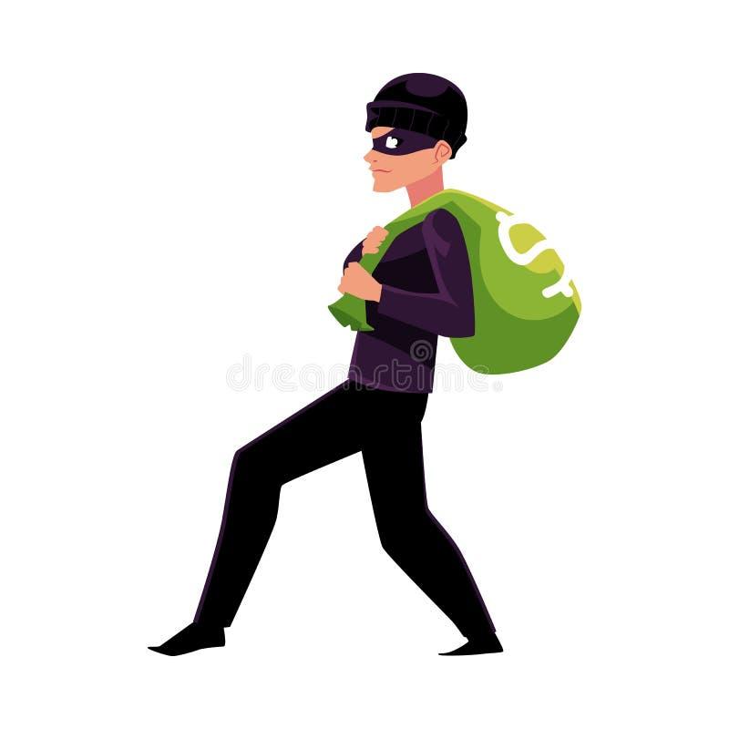 Tjuv rånare, inbrottstjuv som försöker att fly med en pengarpåse stock illustrationer