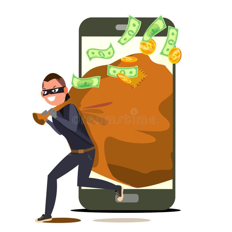 Tjuv And Smartphone Vector Bandit med påsen alla begreppsförsäkringtyper Inbrottstjuv rånare i maskering Personlig sprickaanvända royaltyfri illustrationer