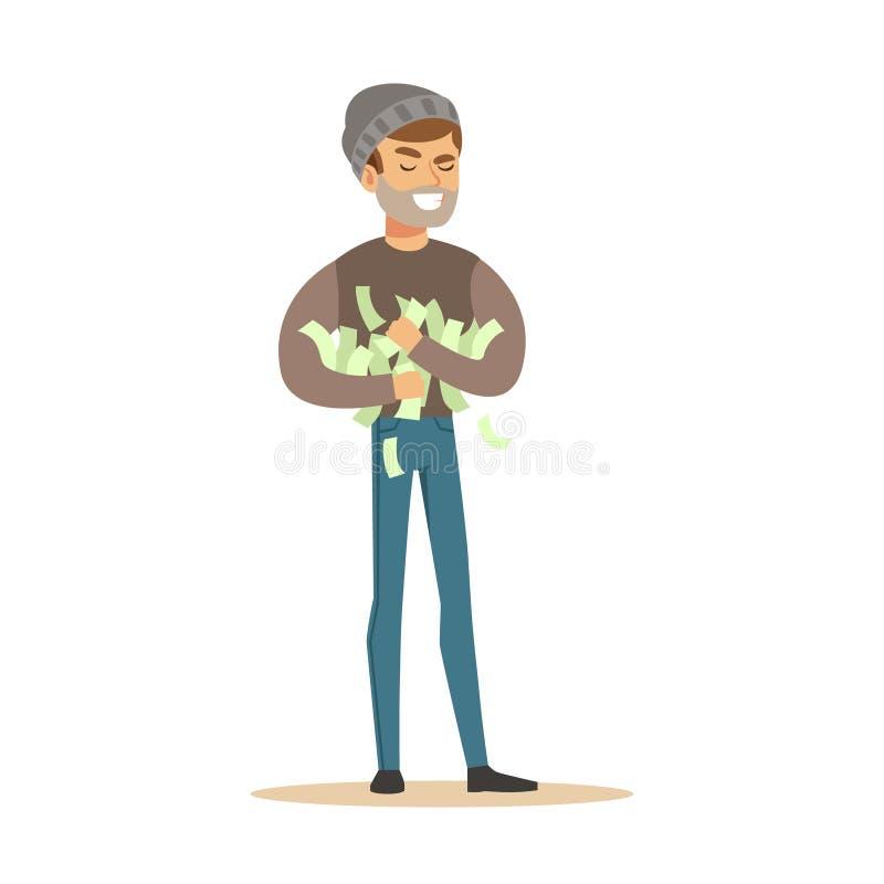 Tjuv som stjäler mycket pengar Färgrik illustration för vektor för tecknad filmtecken stock illustrationer