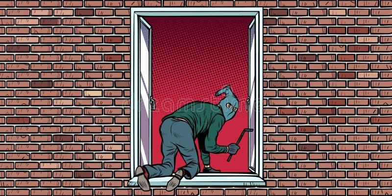 Tjuven är klättringar för en inbrottstjuv i fönstret vektor illustrationer
