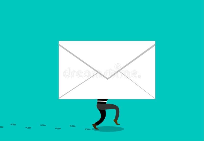 Tjuven döljer i Phishing post till att hacka, vektor royaltyfri illustrationer