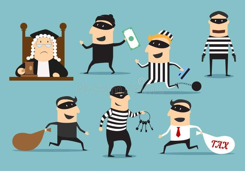 Tjuvrånare och domare, vektorbrott eller bestraffning royaltyfri illustrationer