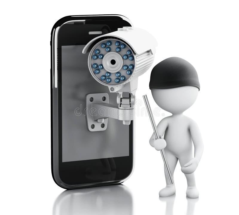 tjuvwhite för folk 3d Smartphone med säkerhetsCCTV-kameran vektor illustrationer