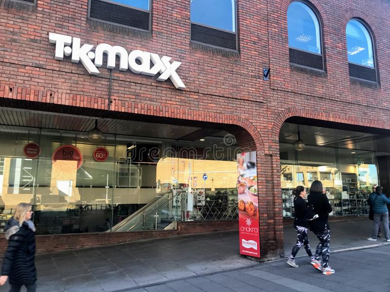 TK Maxx store. TK Maxx, often stylised as T·k·maxx, is a subsidiary of the American apparel and home goods company TJX Companies based in Framingham stock image