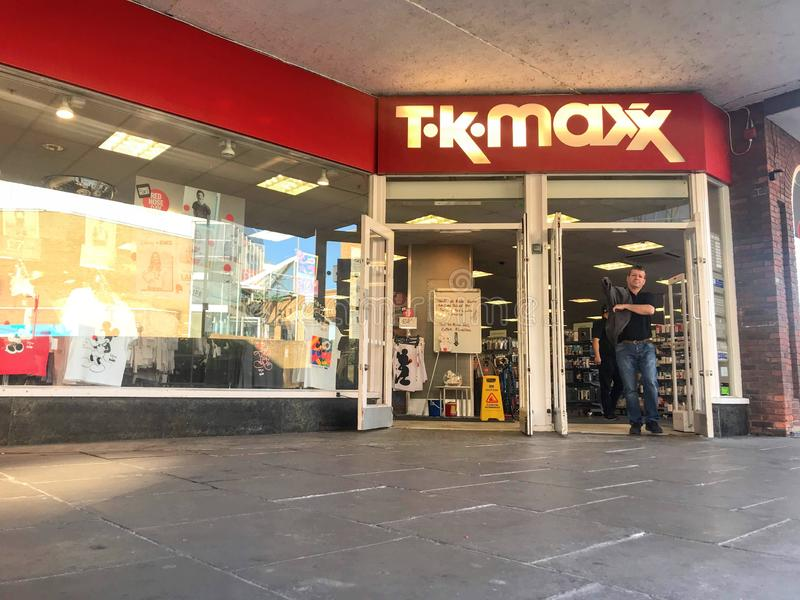 TK Maxx store. TK Maxx, often stylised as T·k·maxx, is a subsidiary of the American apparel and home goods company TJX Companies based in Framingham royalty free stock photos