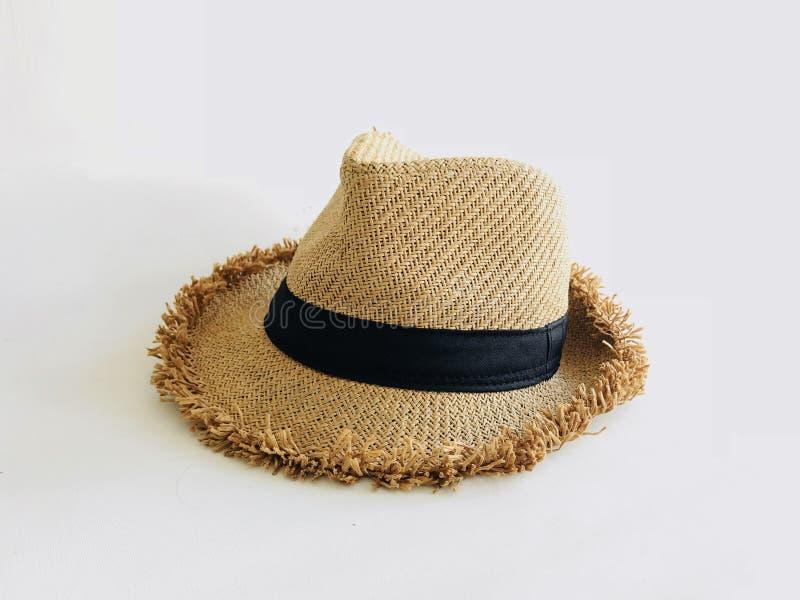 Tkactwo kapelusz odizolowywający na bielu zdjęcia stock