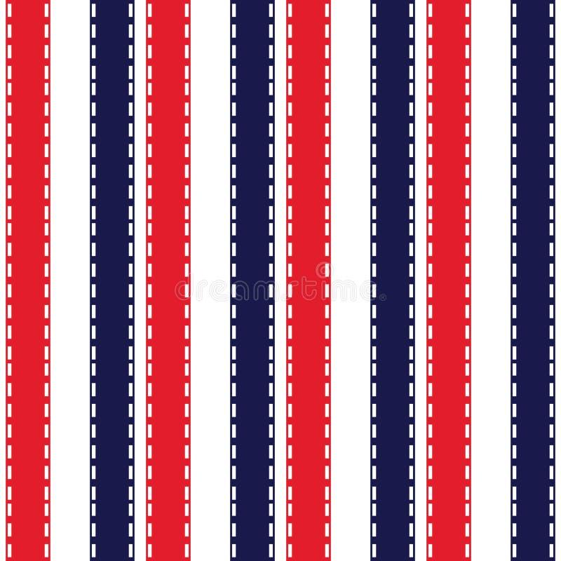 Tkanina koloru retro stylu lampasa bezszwowy wzór z błękitnego, czerwieni i białego pionowo równoległym lampasem, abstrakcyjny t? ilustracji