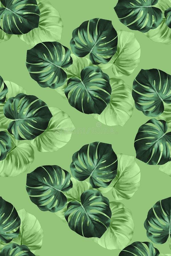 Tkanina wzór z dużymi ciemnozielonymi palma liśćmi royalty ilustracja