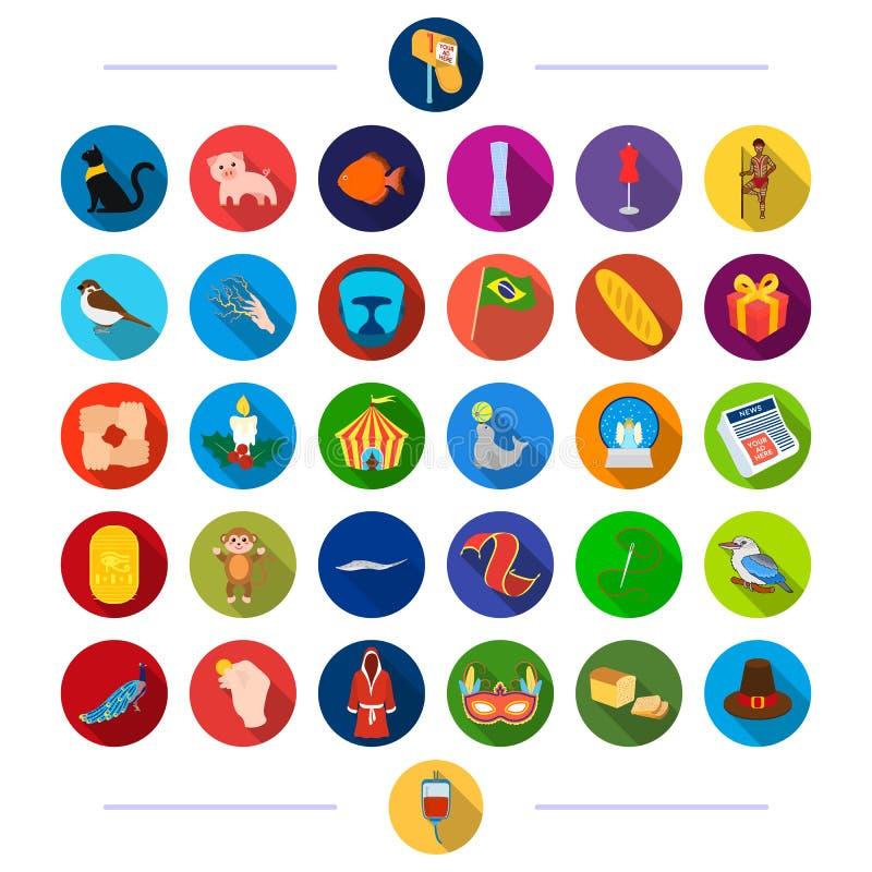 Tkaniny, atelier, cinematograph i inna sieci ikona w mieszkaniu, projektują zjawisko, zwierzęta, produkty, ikony w secie ilustracji