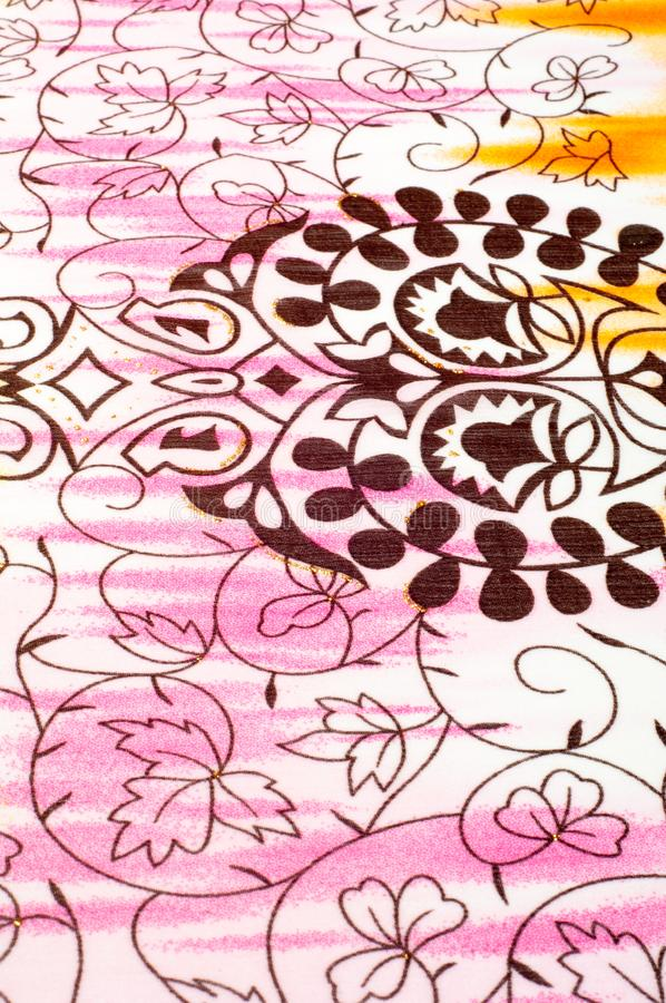 Tkaniny biały tekstura menchie, kolor żółty i brązu wzór, zdjęcie stock