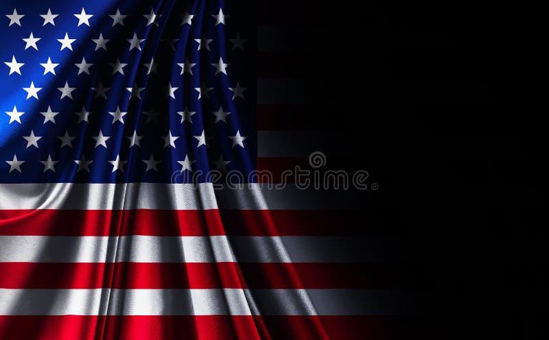 Tkaniny tekstury usa Amerykańska flaga na czarnym noir tle, zdjęcie royalty free