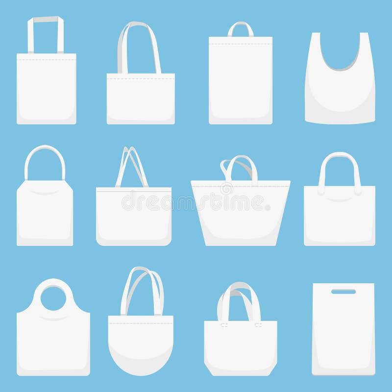 Tkaniny torba Eco kanwa zdojest, biały zakupy bagful i plaży sukiennej torebki ilustracji wektorowy set ilustracja wektor