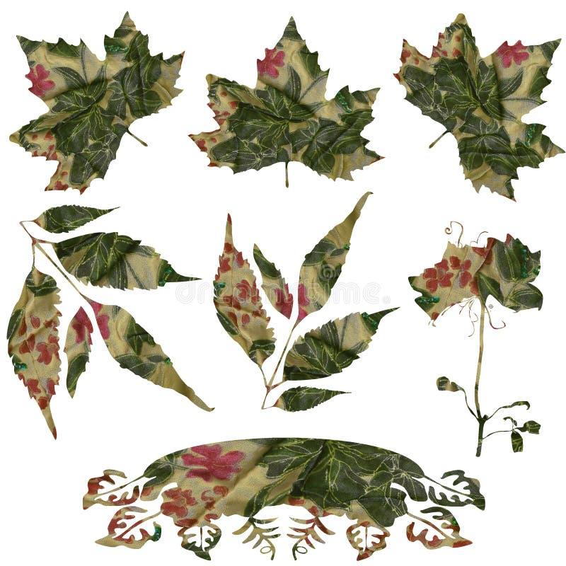 tkaniny zawijasa liść set ilustracji